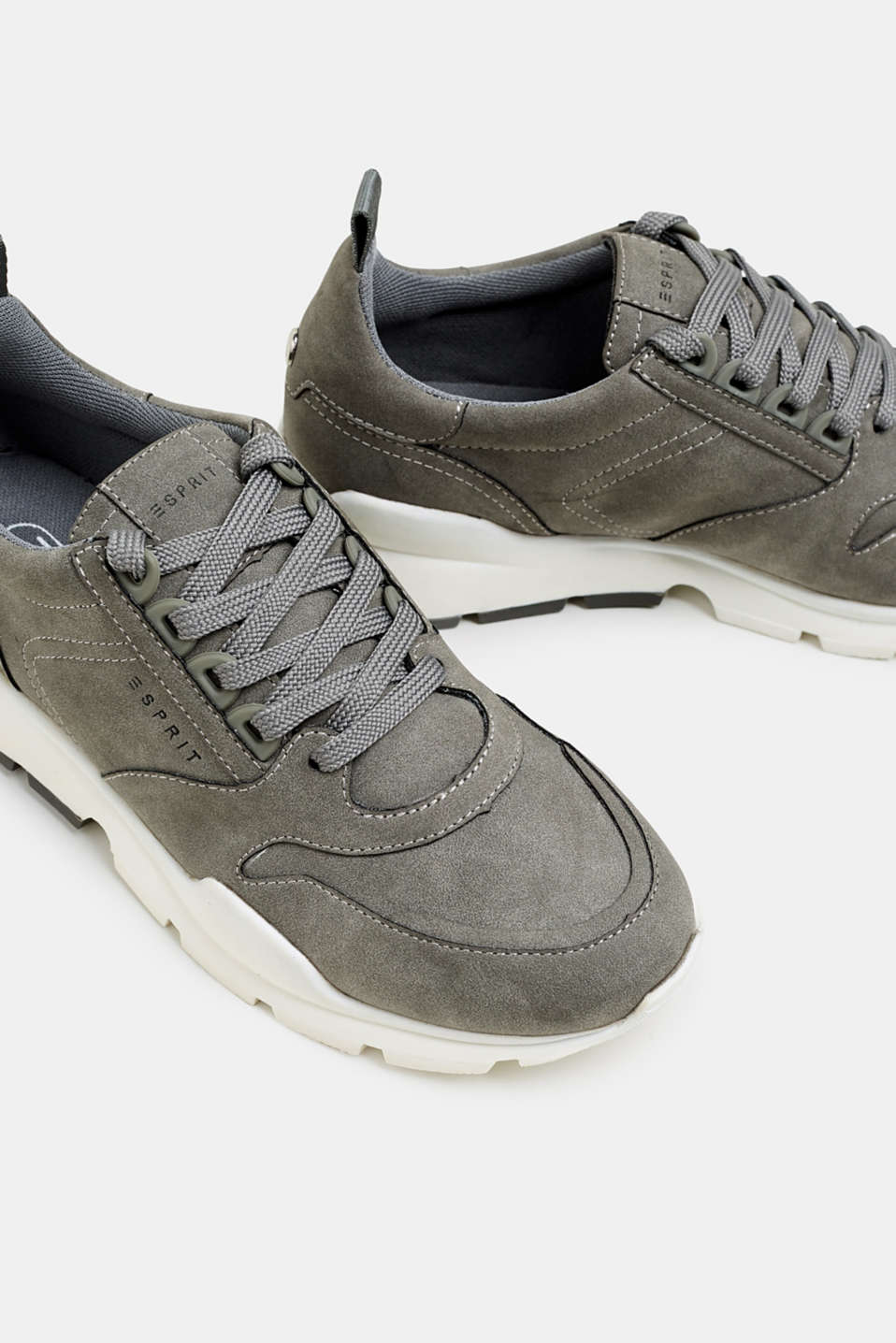Faux nubuck trainers, GREY, detail image number 4