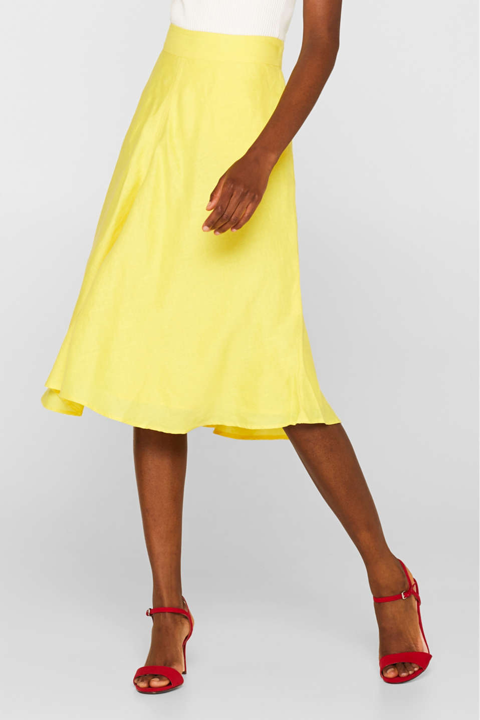 Skirts light woven, BRIGHT YELLOW, detail image number 5