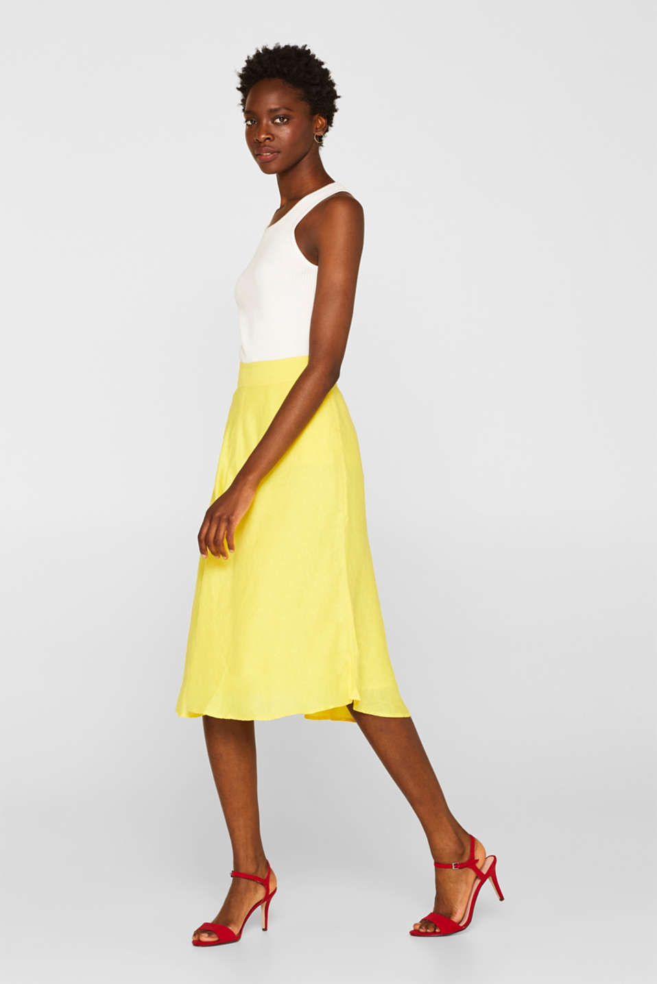 Skirts light woven, BRIGHT YELLOW, detail image number 1