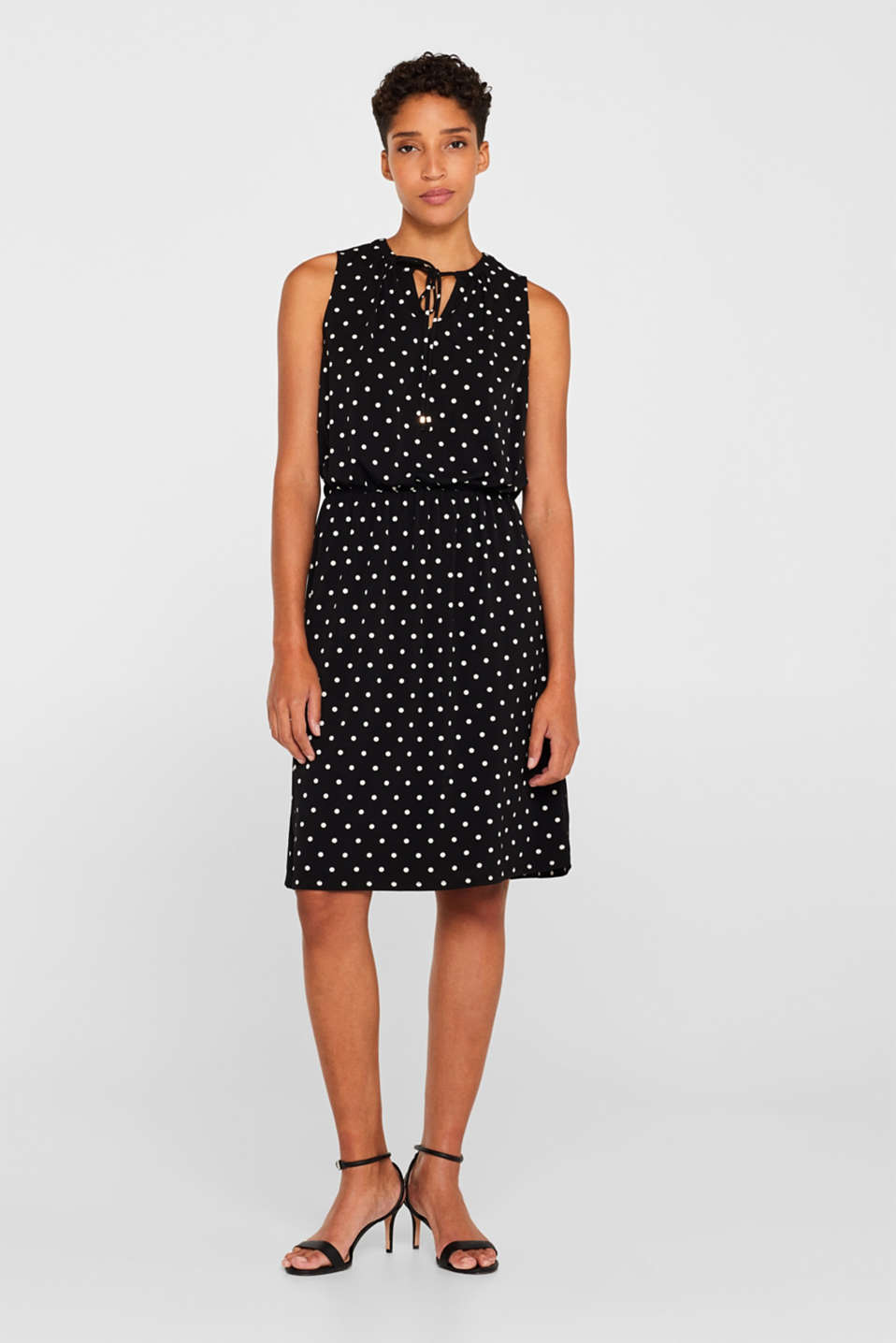 Stretch jersey dress with polka dots or plain, BLACK, detail