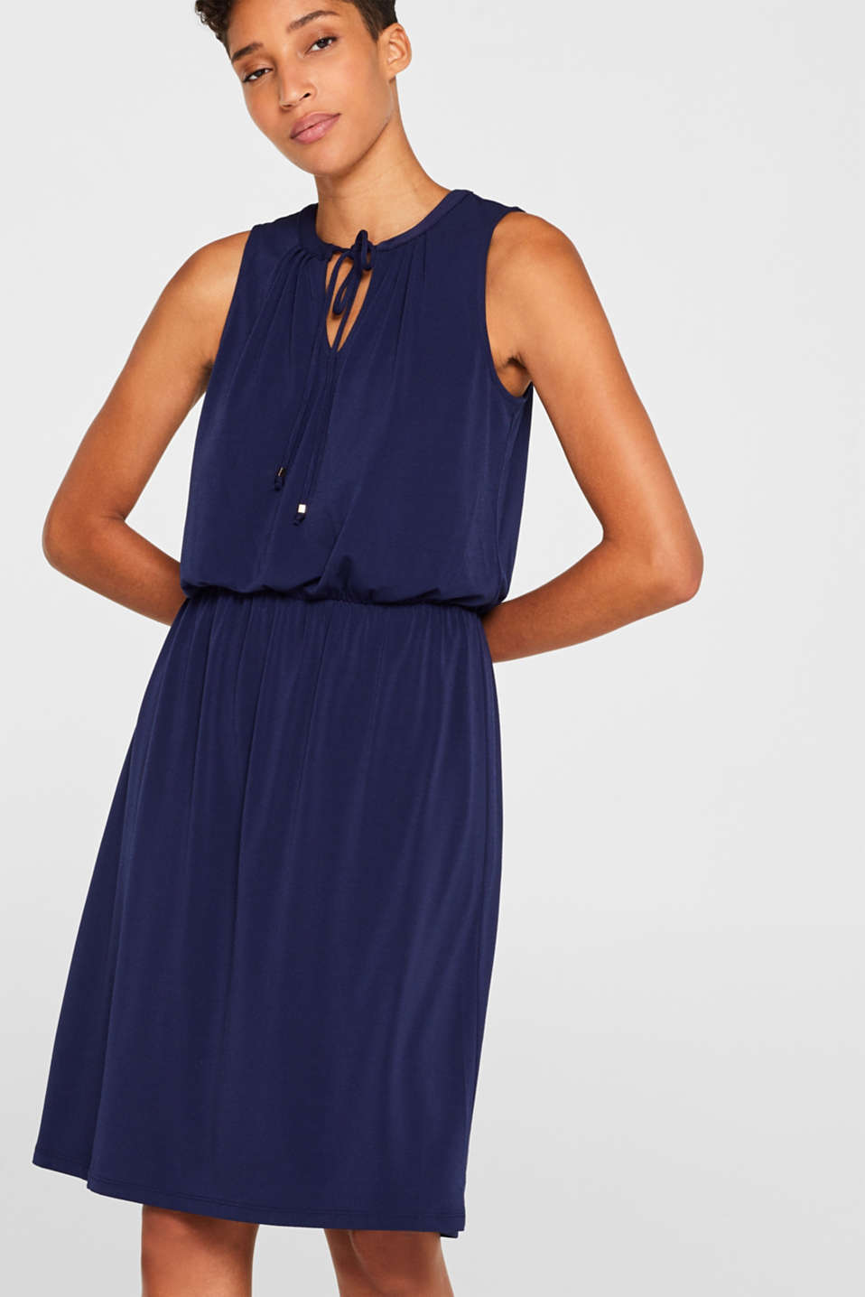 Esprit - Stretch jersey dress with polka dots or a plain colour