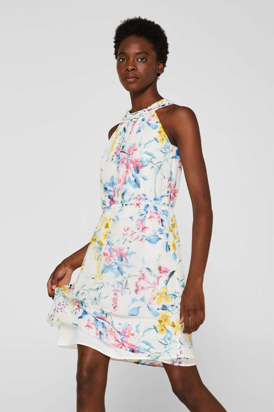 Esprit - Chiffon dress with cut-away shoulders