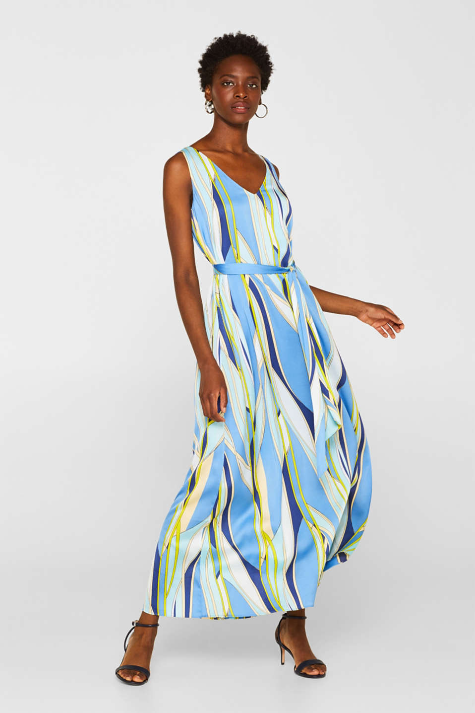 Esprit - Satin maxi dress with a psychedelic print