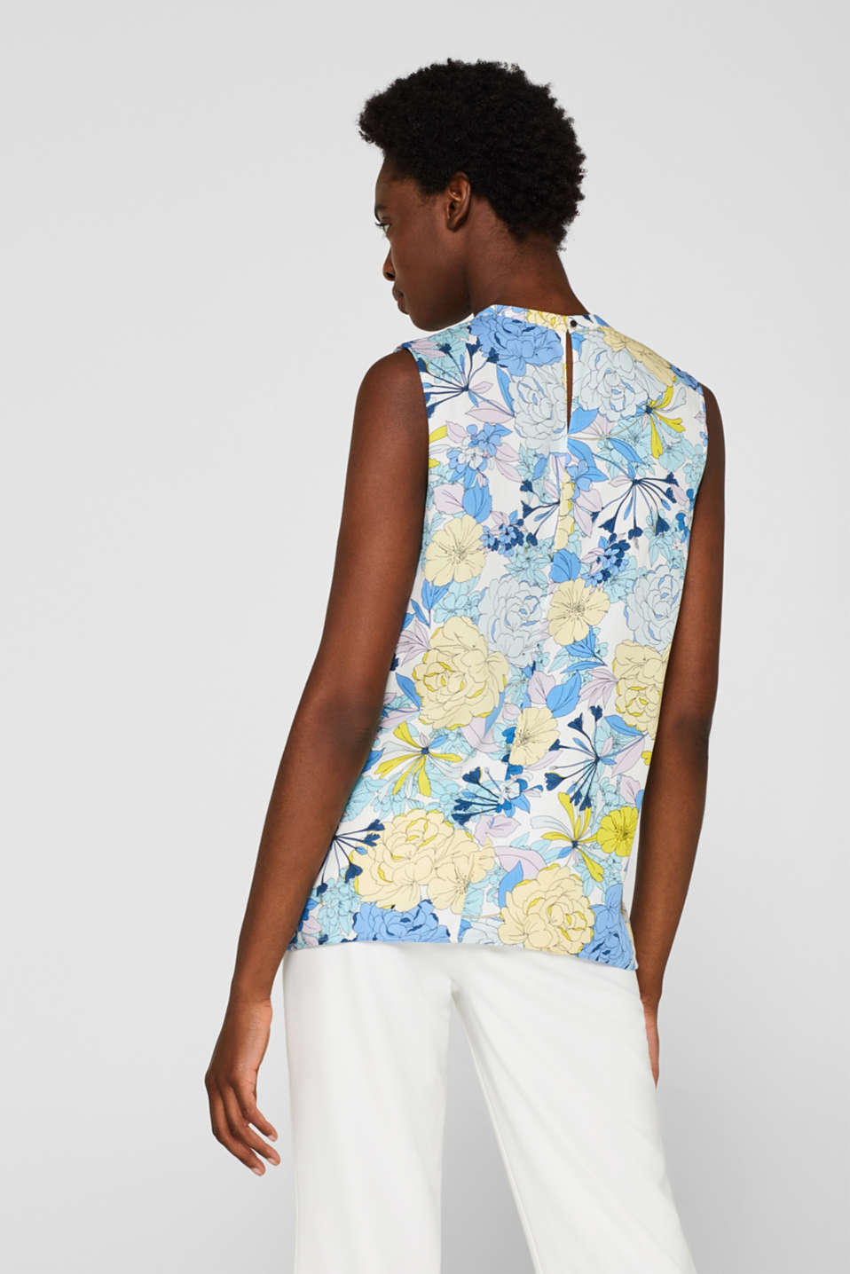 Blouse top with a modern neckline, OFF WHITE 2, detail image number 3