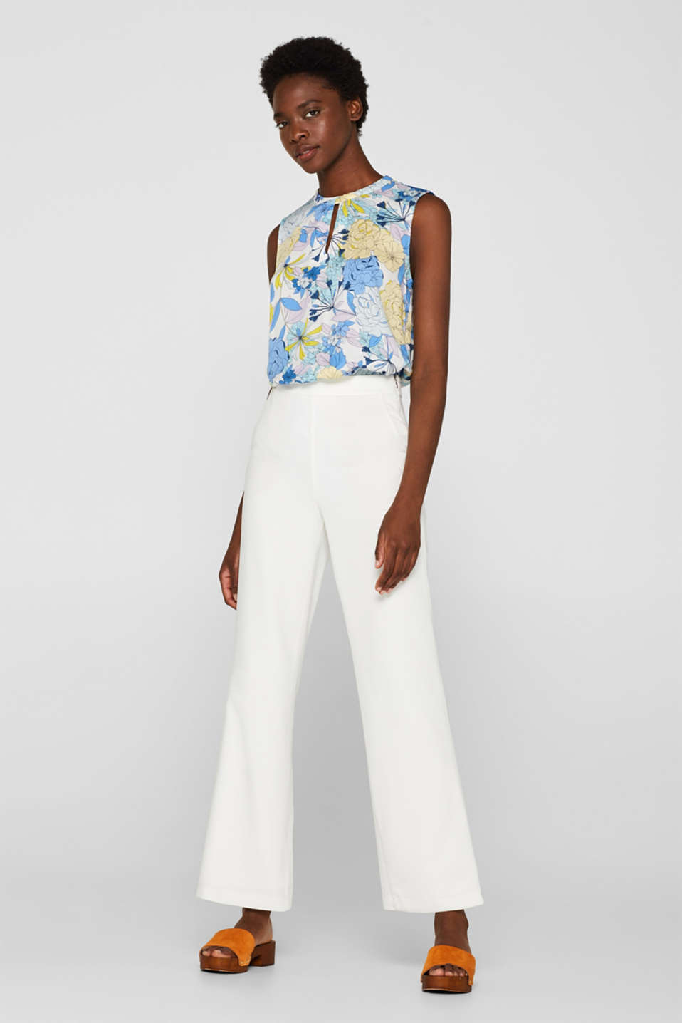 Blouse top with a modern neckline, OFF WHITE 2, detail image number 1