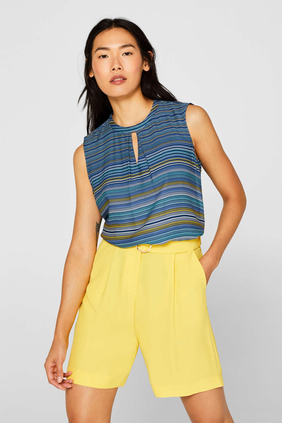 Esprit - Blouse top with a modern neckline