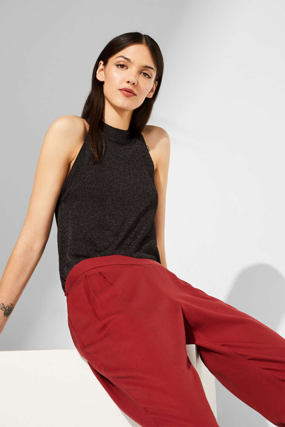 Esprit - Knit halterneck top with a subtle shimmer