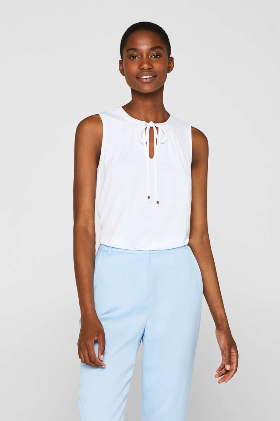 Esprit - Stretch blouse top with a bow