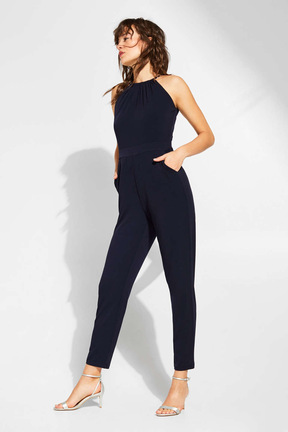 Esprit - Stretch jersey jumpsuit with chain details