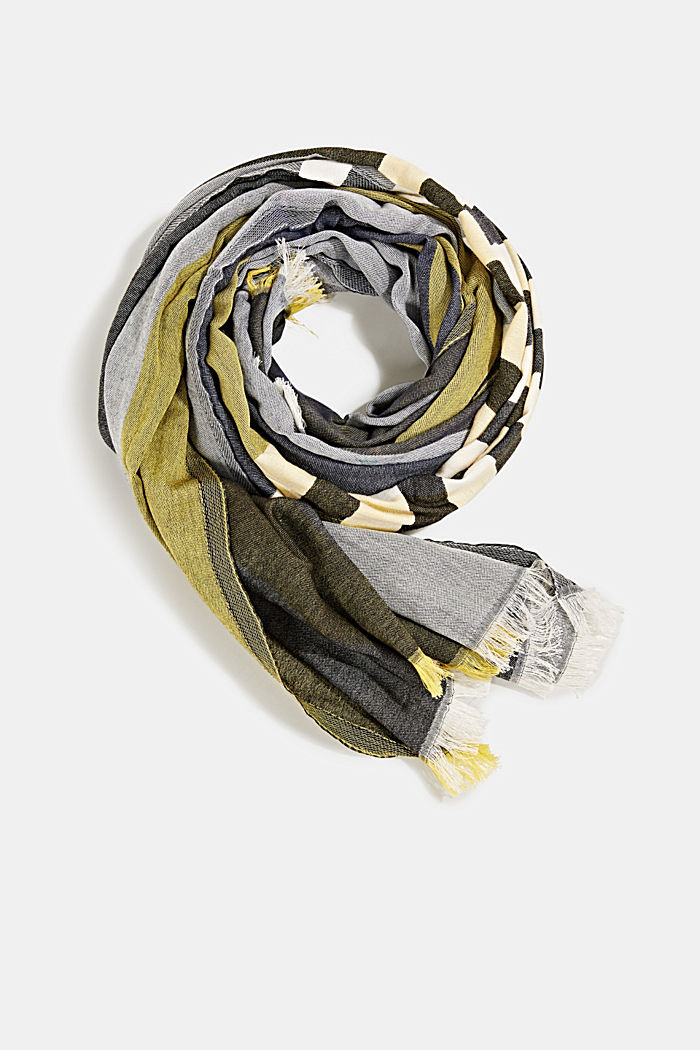 Woven scarf with stripes, NAVY, detail image number 0