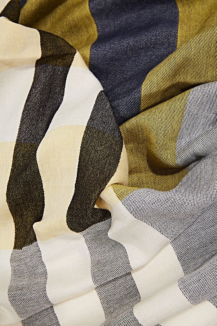 Woven scarf with stripes, NAVY, detail image number 2