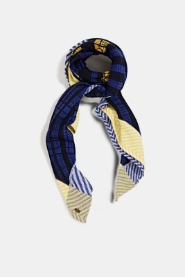 Scarf with a geometric tribal print, NAVY, detail