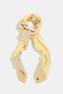 Scarf with a geometric tribal print, YELLOW, detail