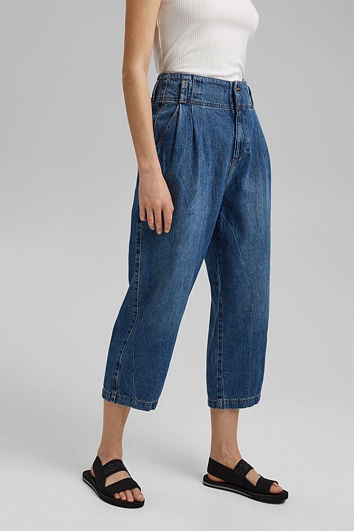 Jean taille haute de longueur 7/8, 100% coton, BLUE MEDIUM WASHED, detail image number 0