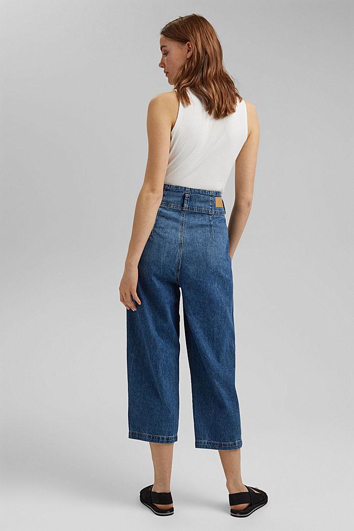 Jean taille haute de longueur 7/8, 100% coton, BLUE MEDIUM WASHED, detail image number 3