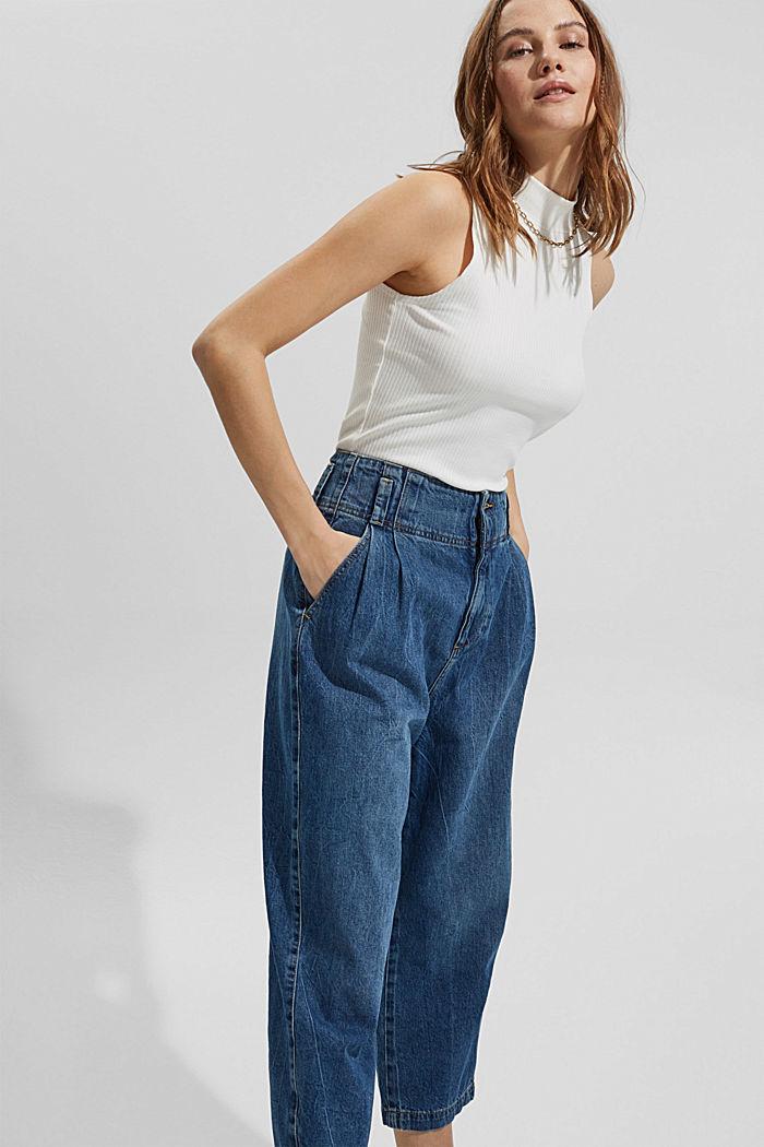 Jean taille haute de longueur 7/8, 100% coton, BLUE MEDIUM WASHED, detail image number 5