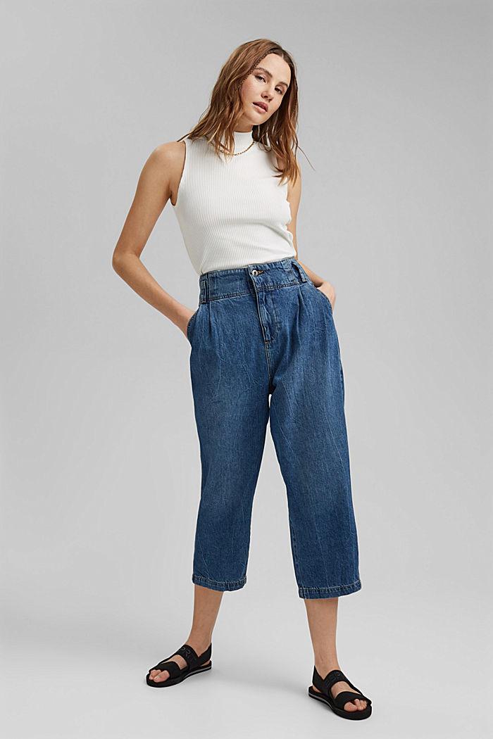 Jean taille haute de longueur 7/8, 100% coton, BLUE MEDIUM WASHED, detail image number 1