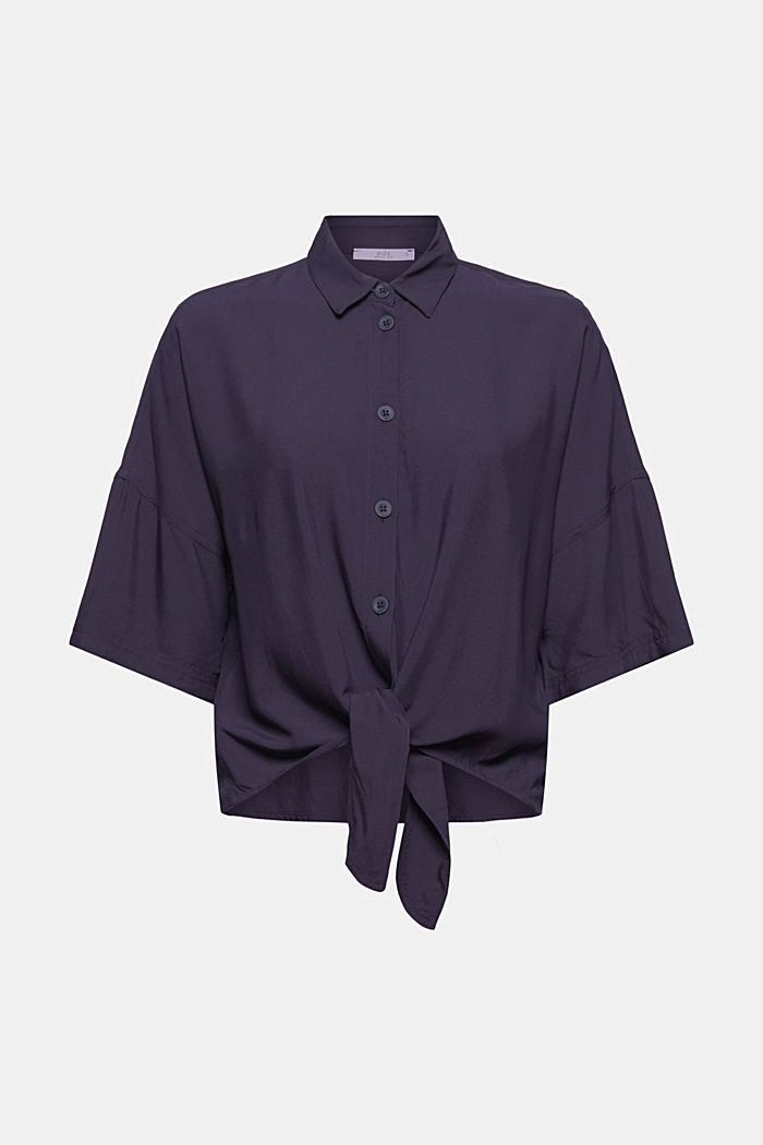 Knoten-Bluse aus LENZING™ ECOVERO™, NAVY, detail image number 5