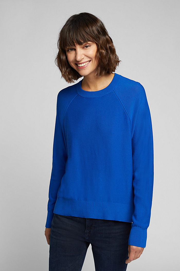 Crewneck jumper made of 100% organic cotton, BRIGHT BLUE, detail image number 0