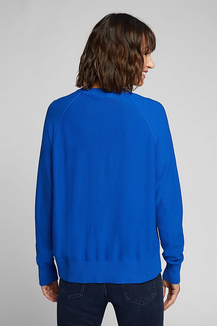 Crewneck jumper made of 100% organic cotton, BRIGHT BLUE, detail image number 3