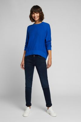 Crewneck jumper made of 100% organic cotton, BRIGHT BLUE, detail