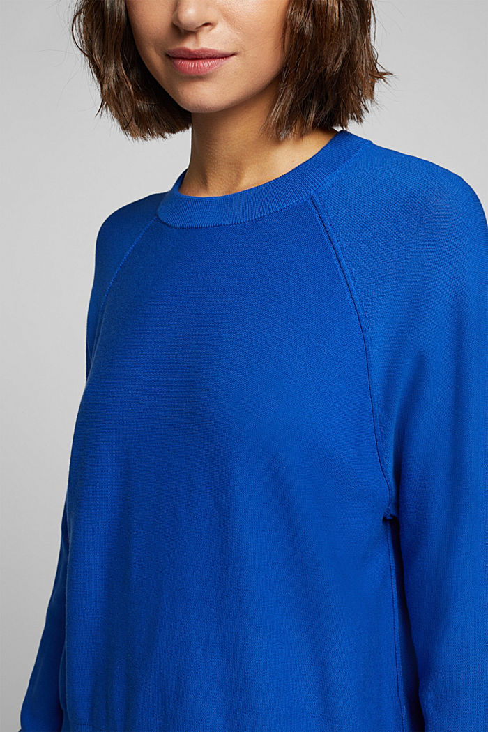 Crewneck jumper made of 100% organic cotton, BRIGHT BLUE, detail image number 2