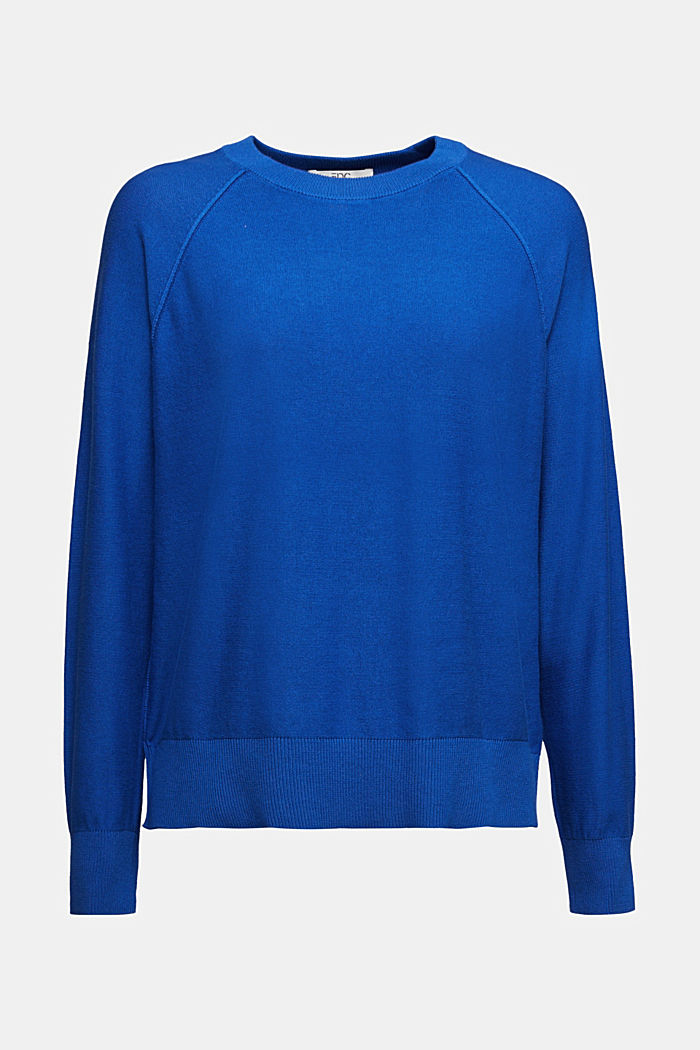 Crewneck jumper made of 100% organic cotton, BRIGHT BLUE, detail image number 5