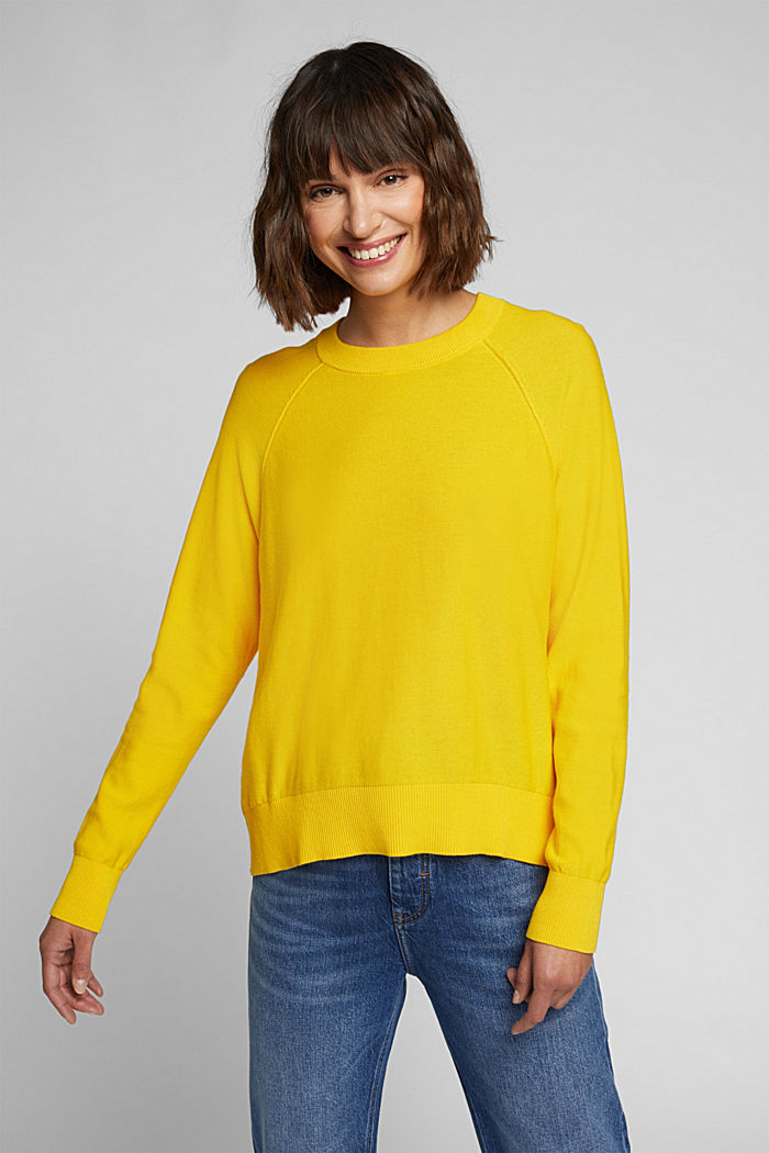 Crewneck jumper made of 100% organic cotton, YELLOW, detail image number 0