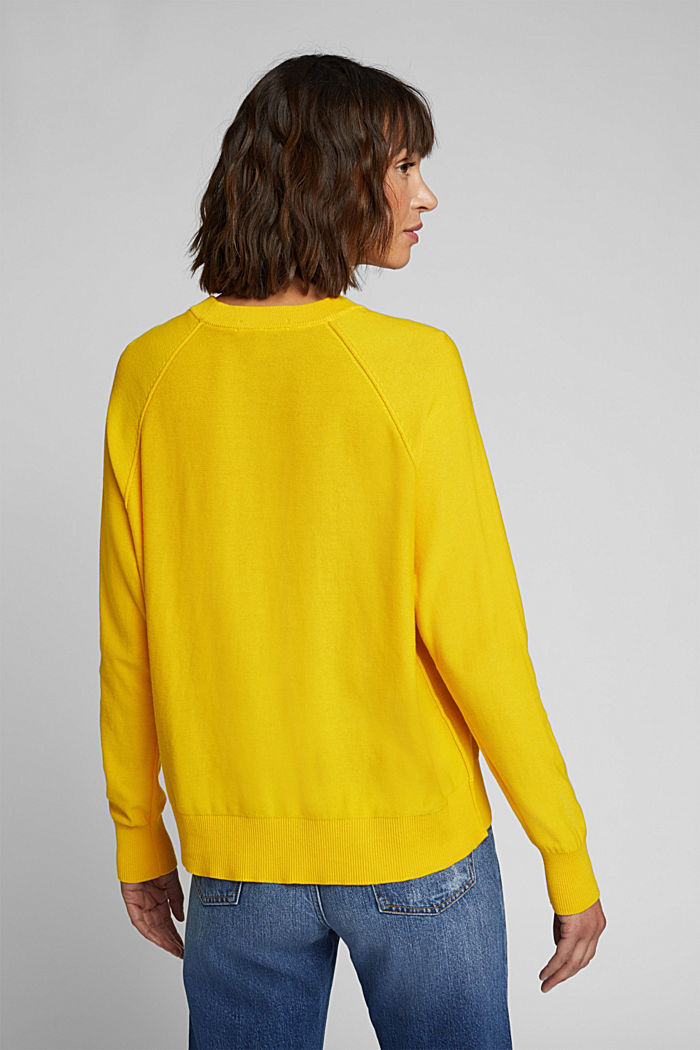 Crewneck jumper made of 100% organic cotton, YELLOW, detail image number 3