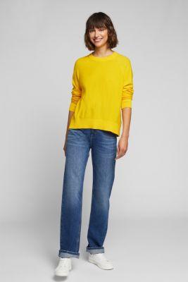 Crewneck jumper made of 100% organic cotton, YELLOW, detail