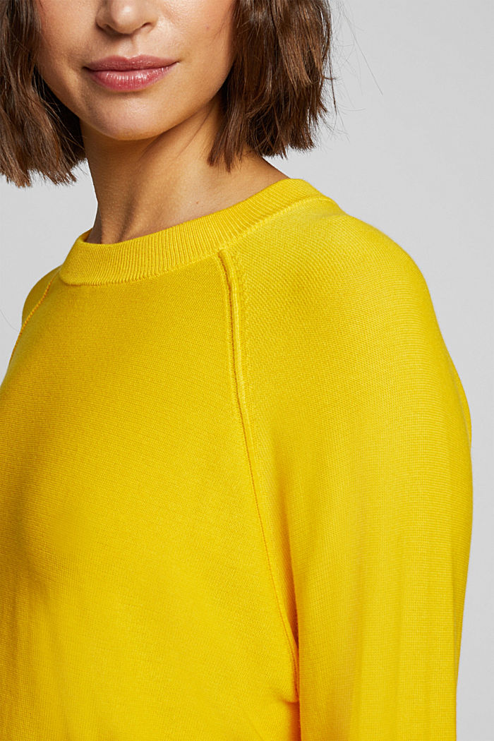 Crewneck jumper made of 100% organic cotton, YELLOW, detail image number 2