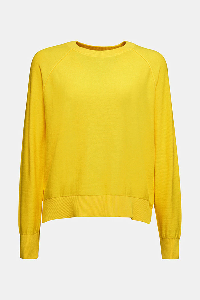 Crewneck jumper made of 100% organic cotton, YELLOW, detail image number 6