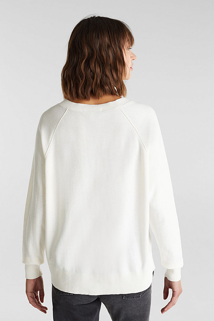 V-neck jumper made of 100% organic cotton, OFF WHITE, detail image number 2