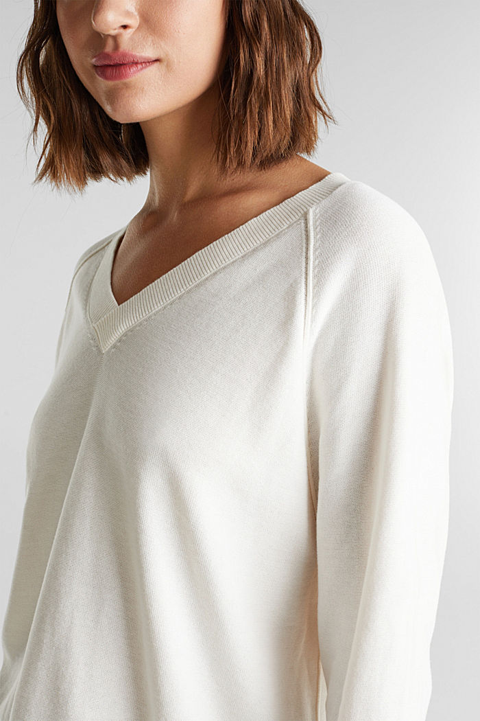 V-neck jumper made of 100% organic cotton, OFF WHITE, detail image number 1