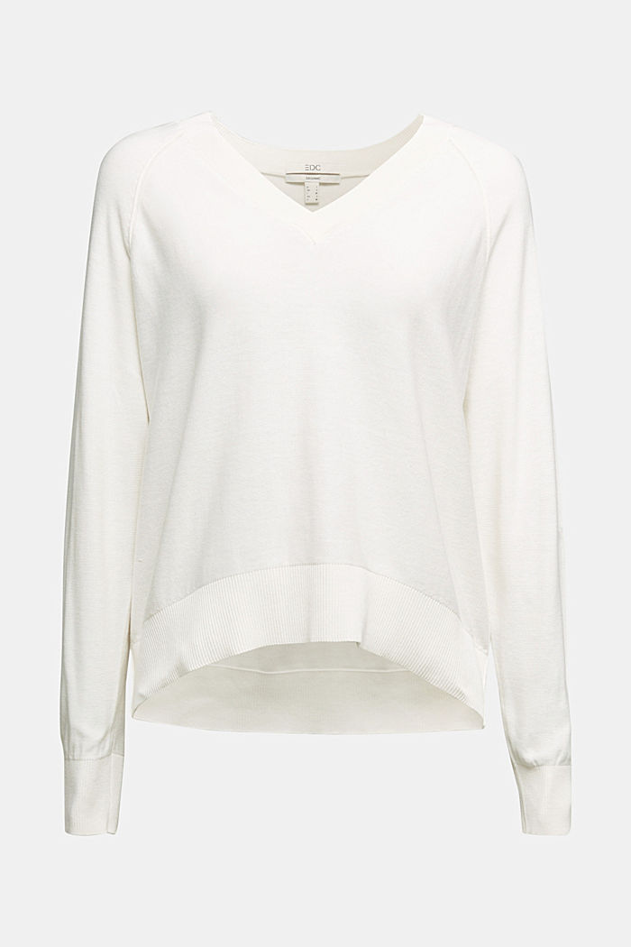 V-neck jumper made of 100% organic cotton, OFF WHITE, detail image number 5