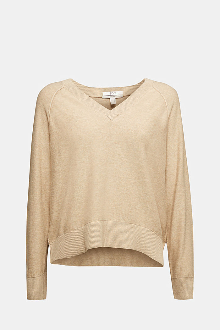 V-neck jumper made of 100% organic cotton, BEIGE, detail image number 6
