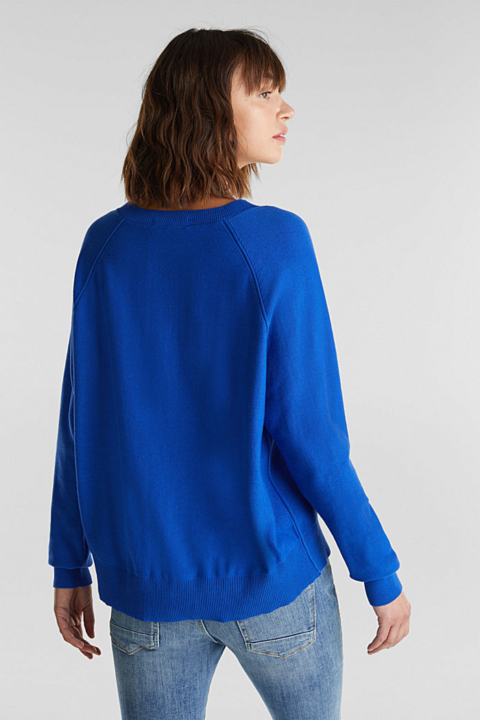 V-neck jumper made of 100% organic cotton, BRIGHT BLUE, detail image number 3