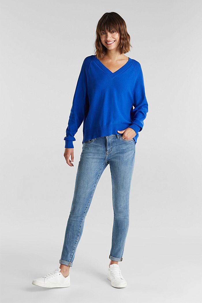 V-neck jumper made of 100% organic cotton, BRIGHT BLUE, detail image number 1