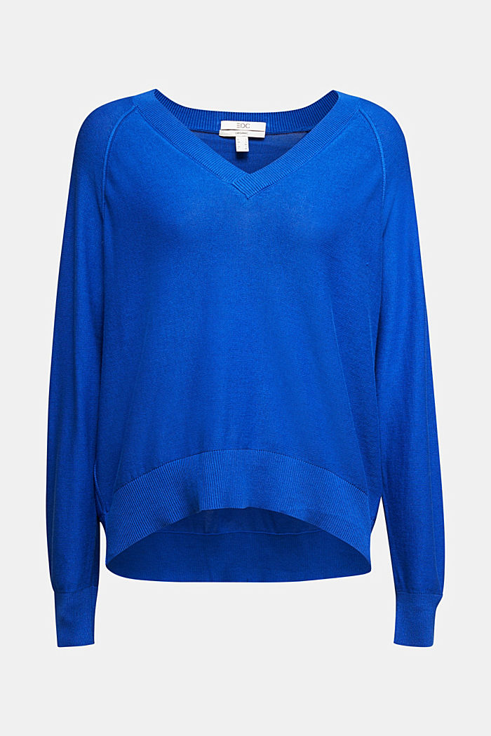 V-neck jumper made of 100% organic cotton, BRIGHT BLUE, overview
