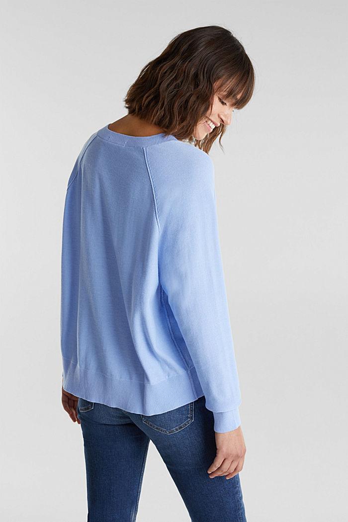 V-neck jumper made of 100% organic cotton, BLUE LAVENDER, detail image number 3