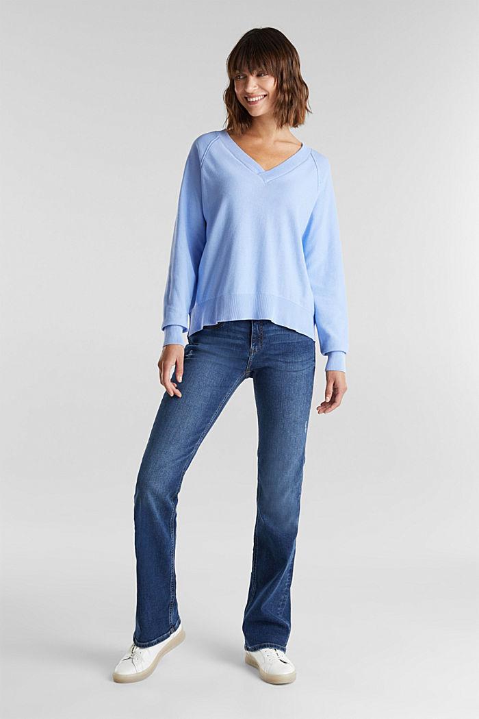 V-neck jumper made of 100% organic cotton, BLUE LAVENDER, detail image number 1
