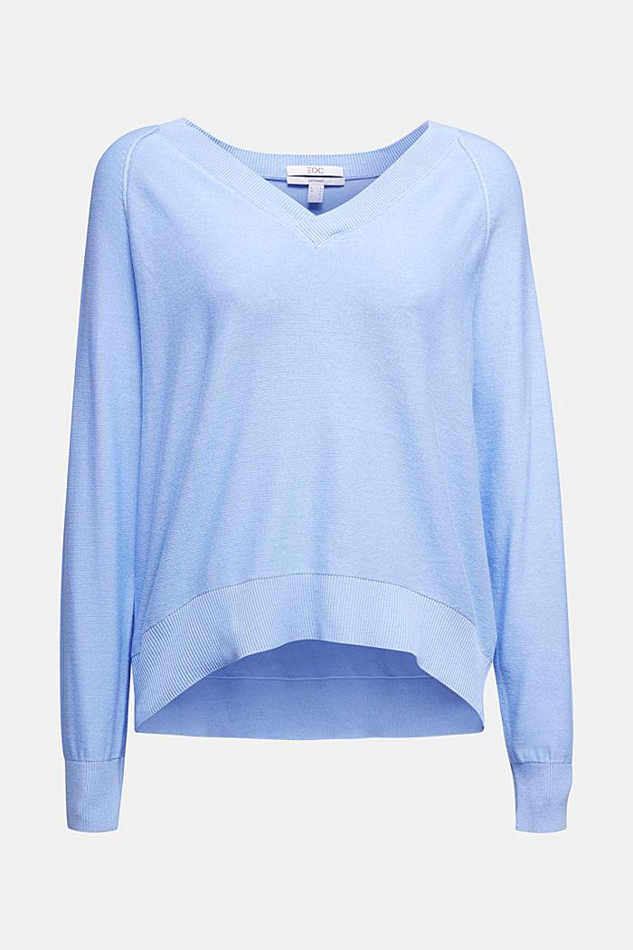 V-neck jumper made of 100% organic cotton, BLUE LAVENDER, detail image number 5