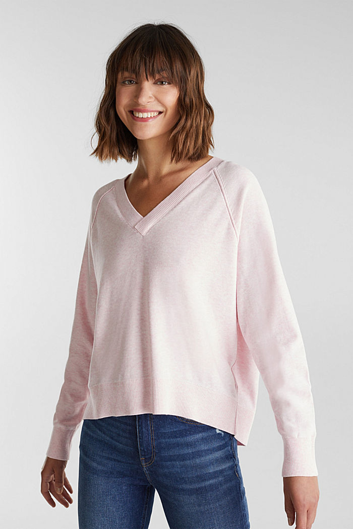 V-neck jumper made of 100% organic cotton, LIGHT PINK, overview