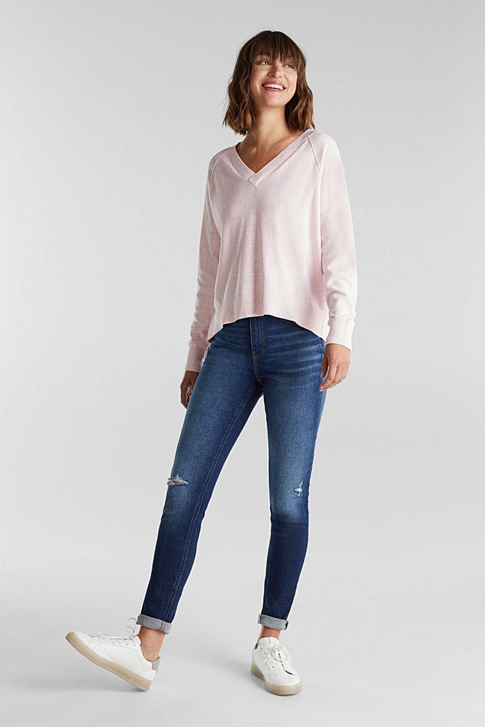 V-neck jumper made of 100% organic cotton, LIGHT PINK, detail image number 1