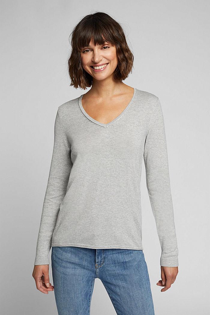 Basic V-neck jumper, organic cotton, LIGHT GREY, detail image number 0