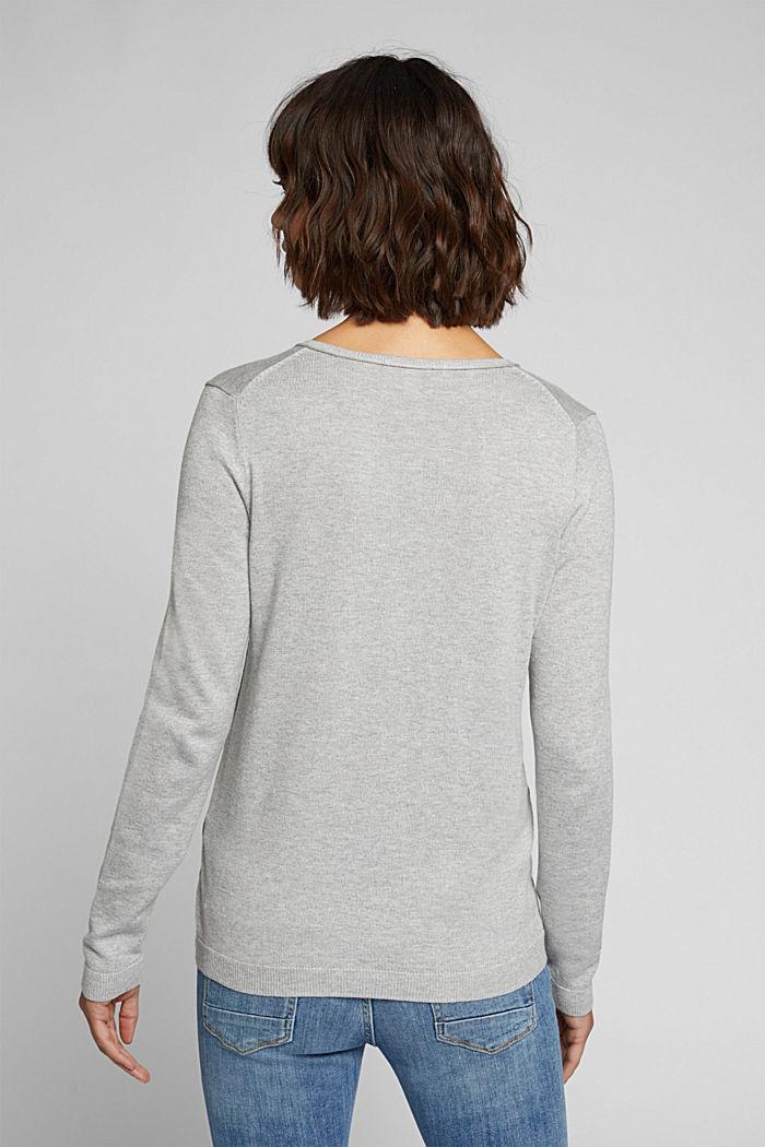Basic V-neck jumper, organic cotton, LIGHT GREY, detail image number 3