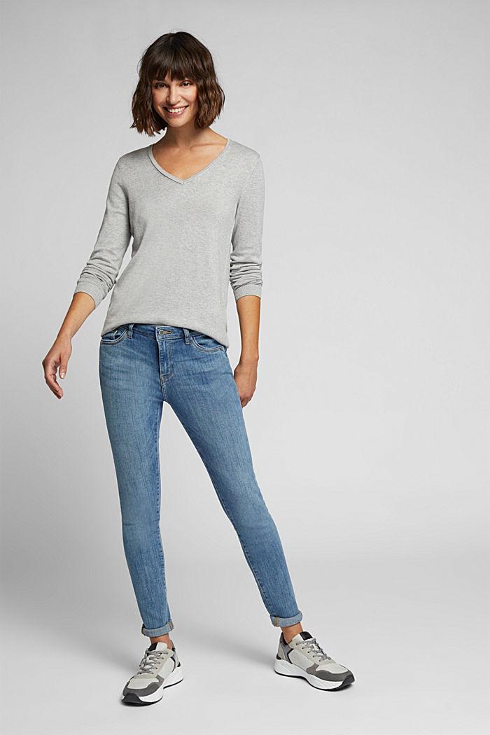 Basic V-neck jumper, organic cotton, LIGHT GREY, detail image number 1