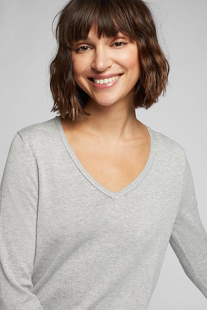 Basic V-neck jumper, organic cotton, LIGHT GREY, detail image number 5