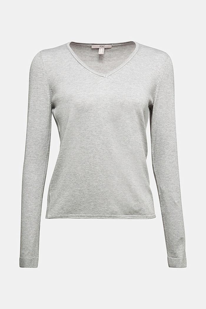 Basic V-neck jumper, organic cotton, LIGHT GREY, detail image number 6