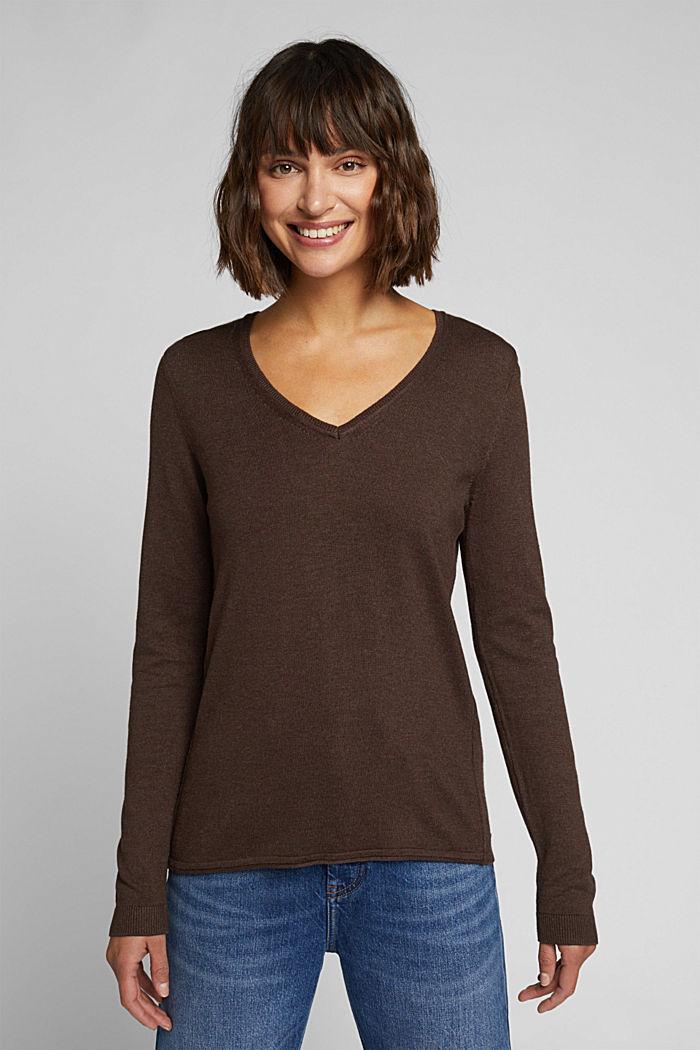 Basic V-neck jumper, organic cotton, DARK BROWN, detail image number 0